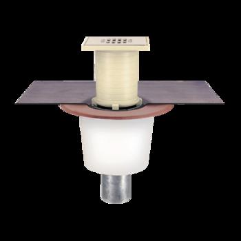 Кровельная воронка для вакуумных систем с приваренным битумным фартуком  воронка для вакуумных систем, битумный фарту