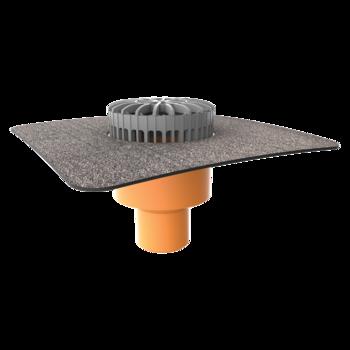 Террасная воронка вертикальная с приваренным битумным фартуком  вертикальная