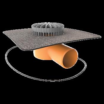 Террасная воронка горизонтальная с подогревом с приваренным битумным фартуком  горизонтальная с подогревом