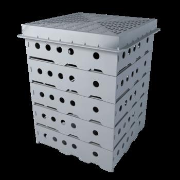 Воронка водосточная для балконов вертикальная с приваренным фартуком из ПВХ-мембраны  вертикальная