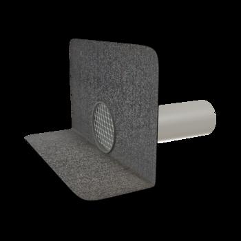 Воронка водосточная для балконов вертикальная с подогревом с приваренным фартуком из ПВХ-мембраны  вертикальная с подогревом