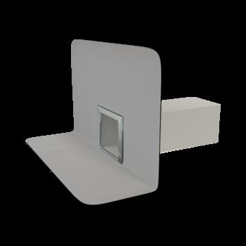 Воронка водосточная для балконов горизонтальная с приваренным фартуком для примыкания к покрытию пола  горизонтальная