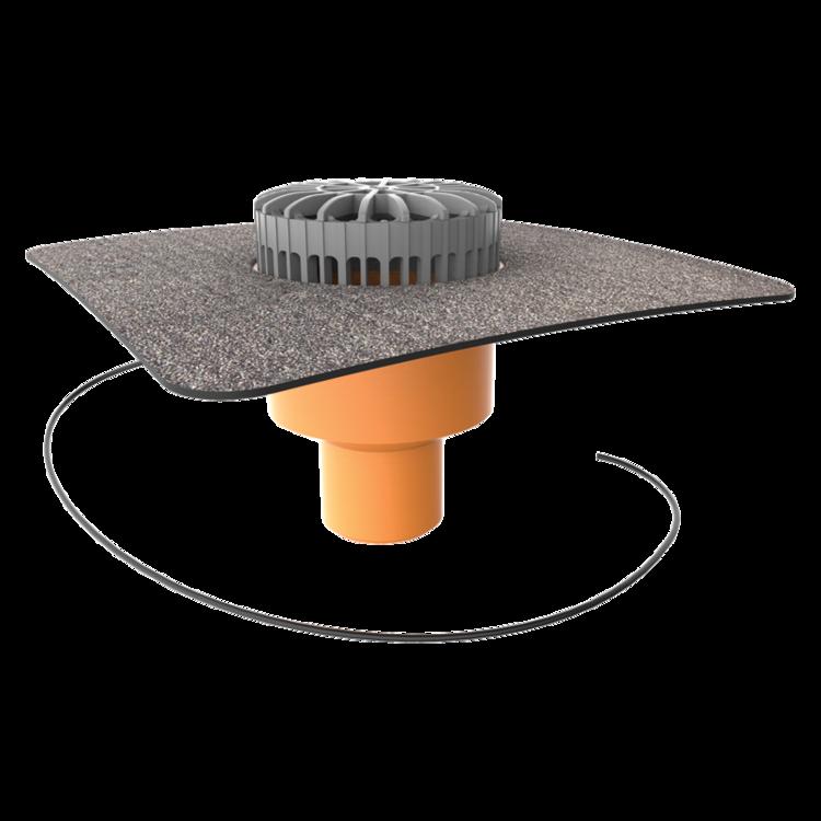 Террасная воронка вертикальная с подогревом с приваренным битумным фартуком вертикальная с подогревом