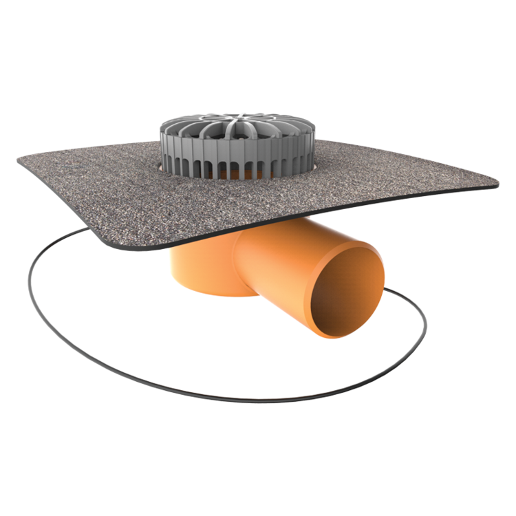 Террасная воронка горизонтальная с подогревом с приваренным битумным фартуком