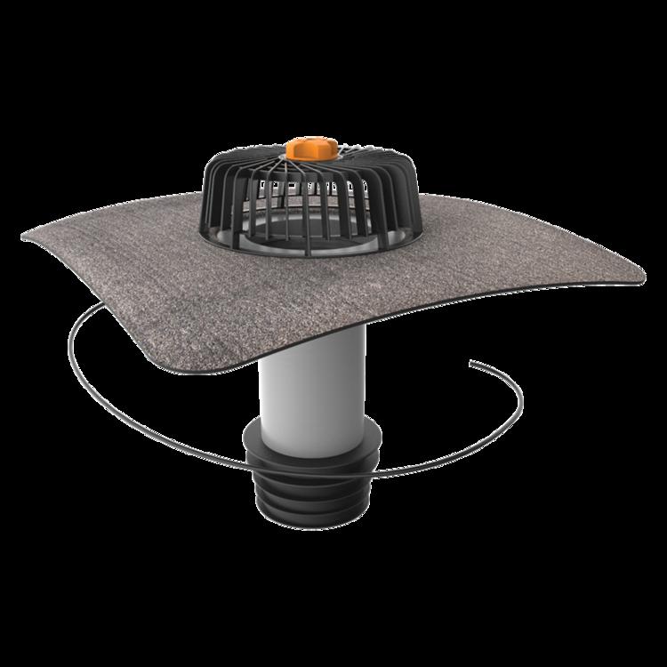 Ремонтная воронка вертикальная с подогревом с приваренным битумным фартуком вертикальная с подогревом