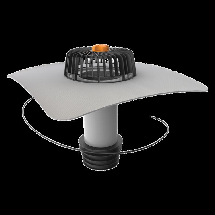 Ремонтная воронка вертикальная с подогревом с приваренным фартуком из ПВХ-мембраны вертикальная с подогревом