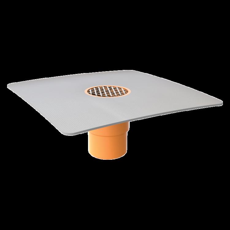 Воронка водосточная для балконов вертикальная с приваренным фартуком из ПВХ-мембраны