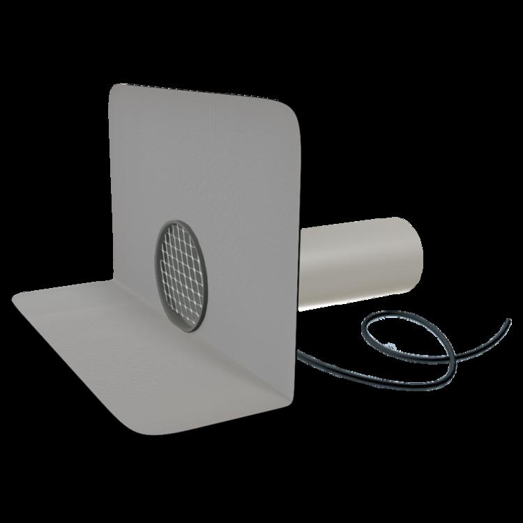 Круглая парапетная воронка с подогревом с приваренным фартуком из ПВХ-мембраны